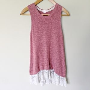 Xhilaration sweater large tank with lace detail